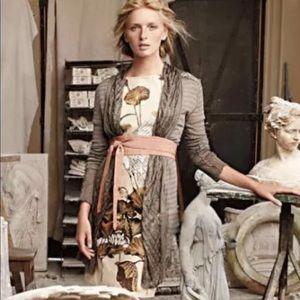 Anthropologie Floreat Snowy Egret Bird Shift Dress